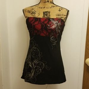 Sexy Red Black Silver Graphic Lace Strapless Top